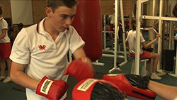 Menai Student using the school gymnasium
