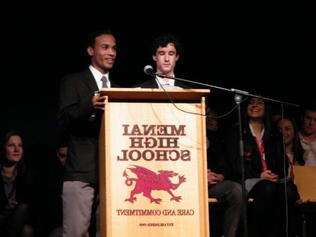 Students displaying their public speaking skills